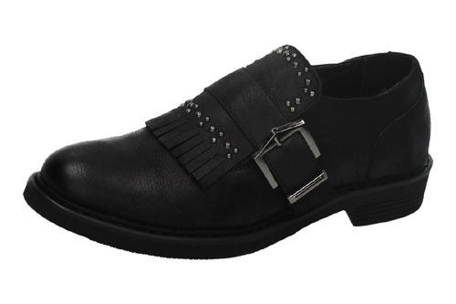 46346 MOCASINES CON FLECOS color NEGRO
